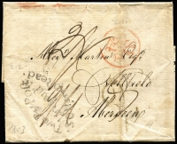 Lot 1660 [1 of 2]:1803 (Sep 21) Entire to Aberdeen from London with 'Two Py Poft/Unpaid/SoHampftead' handstamp in black, red Bishop mark 'SE/1803/24' and backstamped black Bishop mark 'SE/21/1803'.