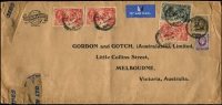Lot 1368:1934 Re-Engraved Seahorses 5/- (3) and 10/- (corner fault), etc, perfin 'G & G' tied by London cds to 1935 (1 Jan) Gordon & Gotch airmail cover to Melbourne (1/3d ½oz airmail x21). Stamps cat £335 off cover.