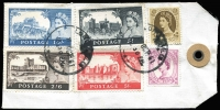 Lot 1455:1961 Castles Definitives DLR Printings 2/6d to £1 set tied by London cds to 1961 (11 Oct) airmail parcel tag to New Zealand, scarce and attractive franking for 1/6d per ½oz airmail x26.