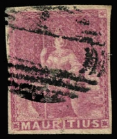 Lot 2000 [1 of 4]:1858-62 No Value Expressed imperforate, (4d) Green used with possible forged 'FOUR-PENCE' surcharge, (9d) Dull Magenta used, unissued red-brown and blue unused/part gum, SG #27-31 (ex 28), Cat £360 (4)