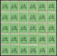 Lot 1080 [1 of 2]:1915-16 KGV Single Wmk ½d green Electro 2 bottom right part pane of 30 [2R31-60], showing catalogued varieties on 2R36 & 2R56. This is the Purves 2nd NWPI setting with the (acccbc) transcription error on the 5th row.