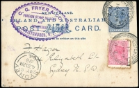 Lot 672 [2 of 3]:1893-95 Covers to USA from Stamp Dealer partners Dawson A Vindin and Fred Hagen, with dedicated inscribed corner details for each, also 1898 NZ 1d Postal card from CG Fryer & Co, Stamp Dealers of Christchurch to Hagen in Sydney, blemishes, exhibitable. (3)