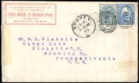 Lot 672 [3 of 3]:1893-95 Covers to USA from Stamp Dealer partners Dawson A Vindin and Fred Hagen, with dedicated inscribed corner details for each, also 1898 NZ 1d Postal card from CG Fryer & Co, Stamp Dealers of Christchurch to Hagen in Sydney, blemishes, exhibitable. (3)