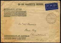 Lot 1504 [2 of 3]:1935 cover from Yorkshire to Christchurch carried aboard the ill-fated 'City of Khartoum', which was lost on the Mediterranean Sea 31 December 1935, together with GPO Sydney explanatory memo dated 17 January 1936, and 'ambulance' envelope (20 January 1936), AAMC #575. (3)