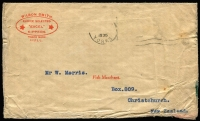 Lot 1504 [1 of 3]:1935 cover from Yorkshire to Christchurch carried aboard the ill-fated 'City of Khartoum', which was lost on the Mediterranean Sea 31 December 1935, together with GPO Sydney explanatory memo dated 17 January 1936, and 'ambulance' envelope (20 January 1936), AAMC #575. (3)