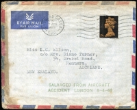 Lot 1005:1968 (Apr 7) airmail wreck cover from London to Auckland, charred at edges, bearing fine strike of 'SALVAGED FROM AIRCRAFT/ACCIDENT LONDON 8-4-68' in green, AAMC #1622a.