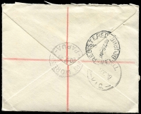 Lot 1449 [2 of 2]:1939 (Sep 20) Registered cover to Victoria with 2d & 3d Airmails tied to Port Moresby cds with Registration label at lower left and with enclosed Territory of Papua General Post Office form for the purchase of 4/- worth of stamps. Nice item.
