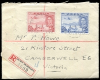Lot 1449 [1 of 2]:1939 (Sep 20) Registered cover to Victoria with 2d & 3d Airmails tied to Port Moresby cds with Registration label at lower left and with enclosed Territory of Papua General Post Office form for the purchase of 4/- worth of stamps. Nice item.