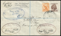 Lot 15175 [1 of 2]:1951 Registered cover Per 'Catalina' Kieta-Buin with Australian adhesivies tied by Kieta cds 8 OC 51 with District Office Kieta Registration oval datestamp at left and two 'MV Malakuna' handstamps Buin to Kieta 8/10/51 at left and Kangu Buin to Kihili 10/10/51 and backstamped Buin 10OC51. Very interesting cover.