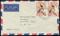 Lot 985 [1 of 3]:1960s Birds to 2/- commercial cover usage selection, rates including scarce 2/6d airmail to Brazil, generally fine, elusive material. (15)