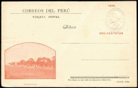 Lot 1813:1899 Viewcard 2c embossed President Pierola with '1899' in red and large print, HG #38a, with view of the 'Exposition of Lima' at lower left, 'Stolte Lima' un-hyphenated. Unused with minor crease.