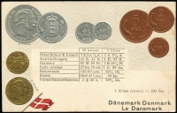 Lot 1122:Coin Postcard: Denmark with Embossed coins and flag of Denmark. Small adhesions on rear otherwise fine unused. Lovely card.