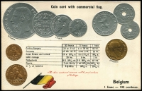 Lot 1119:Coin Postcard: Belgium with Embossed coins and national flag of Belgium. Minor adhesions on rear otherwise fine unused.