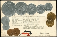 Lot 1124:Coin Postcard: Germany with embossed coins and flag of Germany. Adhesions on rear otherwise fine unused.