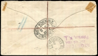 Lot 713 [2 of 2]:1894 (Aug 9) Australian Stamp Co L'd advertising cover registered at Glenelg to US, fine strike of handstruck arc 'REGISTERED/No. . .', Registered Adelaide and New York Registry backstamps.