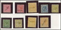 Lot 1940 [3 of 6]:Valuable Collection of Specimen Overprints in upper or lower case, mostly between McCredie Types #20-24 including 1884-96 'Stamp Duty' 1d, 1/6d (2), 3/- (2), 4/- (3), 5/- (3), 10/-, 15/- and £1, 1884-92 2/6d x3, 1885-95 Naish printings 3d (2), 4d, 8d (3), 1/-, 2/-, 1885 3d yellow-orange 'STAMP DUTY' opt, 1886-96 ½d, 1d green (2), 1d brown shades (4), 2d (4) (one Natal type), 2½d (3), 4d (3), 5d (2), 6d (3), 9d (2), 1/- (4 ), 1/6d orange, generally fine. Wonderful opportunity to acquire a collection of considerable substance. (55)