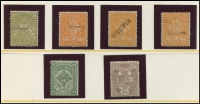 Lot 1940 [6 of 6]:Valuable Collection of Specimen Overprints in upper or lower case, mostly between McCredie Types #20-24 including 1884-96 'Stamp Duty' 1d, 1/6d (2), 3/- (2), 4/- (3), 5/- (3), 10/-, 15/- and £1, 1884-92 2/6d x3, 1885-95 Naish printings 3d (2), 4d, 8d (3), 1/-, 2/-, 1885 3d yellow-orange 'STAMP DUTY' opt, 1886-96 ½d, 1d green (2), 1d brown shades (4), 2d (4) (one Natal type), 2½d (3), 4d (3), 5d (2), 6d (3), 9d (2), 1/- (4 ), 1/6d orange, generally fine. Wonderful opportunity to acquire a collection of considerable substance. (55)