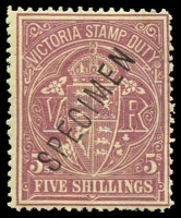 Lot 1940 [1 of 6]:Valuable Collection of Specimen Overprints in upper or lower case, mostly between McCredie Types #20-24 including 1884-96 'Stamp Duty' 1d, 1/6d (2), 3/- (2), 4/- (3), 5/- (3), 10/-, 15/- and £1, 1884-92 2/6d x3, 1885-95 Naish printings 3d (2), 4d, 8d (3), 1/-, 2/-, 1885 3d yellow-orange 'STAMP DUTY' opt, 1886-96 ½d, 1d green (2), 1d brown shades (4), 2d (4) (one Natal type), 2½d (3), 4d (3), 5d (2), 6d (3), 9d (2), 1/- (4 ), 1/6d orange, generally fine. Wonderful opportunity to acquire a collection of considerable substance. (55)