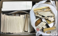Lot 718:Decimals Off-Paper in envelopes in three shoe boxes from early decimals onwards, quantity of inwards mail from around the world, a couple of small Chinese albums and a plastic bag of odds 'n' sods. 8.7kg (100s)