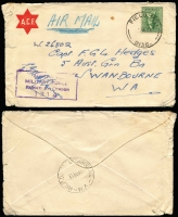 Lot 887 [2 of 12]:Inward Mail to WA mainly to Swanbourne with various 'Opened by Censor', 'Passed by Censor' and 'Department of The Army/Concession Postal Rate' handstamps, Post Office markings incl: FPO 0136 x2, 019, APO AW1 and MPO Bonegilla, Murchison & Caulfield. A very nice range of covers. (12)