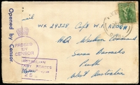 Lot 887 [5 of 12]:Inward Mail to WA mainly to Swanbourne with various 'Opened by Censor', 'Passed by Censor' and 'Department of The Army/Concession Postal Rate' handstamps, Post Office markings incl: FPO 0136 x2, 019, APO AW1 and MPO Bonegilla, Murchison & Caulfield. A very nice range of covers. (12)