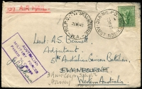 Lot 887 [6 of 12]:Inward Mail to WA mainly to Swanbourne with various 'Opened by Censor', 'Passed by Censor' and 'Department of The Army/Concession Postal Rate' handstamps, Post Office markings incl: FPO 0136 x2, 019, APO AW1 and MPO Bonegilla, Murchison & Caulfield. A very nice range of covers. (12)