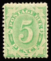 Lot 567 [3 of 3]:1902-04 Design Completed Wmk Crown/NSW 1/- Emerald BW #D37 ($150), 10d Emerald BW #D35 ($150) and 5d Emerald BW #D29 ($150). Total Cat $450. (3)