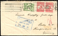 Lot 599 [1 of 2]:1914 (Jul 22) ½d & 1d Kangaroo pair on cover to Germany with boxed 'UNDELIVERABLE' in blue dated 26/04/1915 due to war being declared on Aug 4. [Why so late? The cover did not leave Australia!]