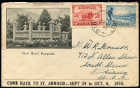 Lot 611:1935 (Mar 27) use to USA of 'COME BACK TO ST.ARNAUD' illustrated envelope with 2d Macarthur and 3d Vic Centenary tied by Jeparit cds.