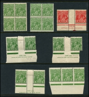Lot 534 [2 of 4]:Collection of Mint Multiples incl SM Wmk 1d green blocks of 4 x3, Ash imprint pairs x3, Inverted block of 6 & marginal strip of 3, 1½d block of 6, 2d Inverted block of 6, CofA Wmk 1d green with 'OS' opt marginal block of 8 and BLC block of 9, plus more. (20 items)