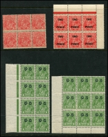 Lot 534 [3 of 4]:Collection of Mint Multiples incl SM Wmk 1d green blocks of 4 x3, Ash imprint pairs x3, Inverted block of 6 & marginal strip of 3, 1½d block of 6, 2d Inverted block of 6, CofA Wmk 1d green with 'OS' opt marginal block of 8 and BLC block of 9, plus more. (20 items)