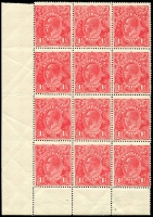 Lot 302 [1 of 3]:1½d Red Electro 17 BLC marginal block of 12 with varieties Two white flaws on Kangaroo's shoulder and 'GE' of 'POSTAGE' joined, BW #90(17)h,i, one unit and margin MH, some perf separation, Cat $650.