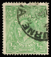 Lot 158:½d Pale Emerald Line Perf BW #64A, missing perf at top, Cat $900.