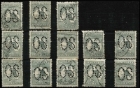Lot 6 [2 of 3]:2d Grey Perf Large 'OS' x30 including a pair, not checked for varieties, BW #5bb, fine used. Cat $600. (30)