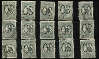 Lot 6 [3 of 3]:2d Grey Perf Large 'OS' x30 including a pair, not checked for varieties, BW #5bb, fine used. Cat $600. (30)