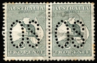 Lot 6 [1 of 3]:2d Grey Perf Large 'OS' x30 including a pair, not checked for varieties, BW #5bb, fine used. Cat $600. (30)