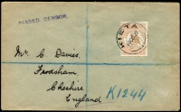 Lot 734 [1 of 2]:5d Chestnut Perf Large 'OS' BW #16ba, tied by Kieta datestamp to 1917 (14 Oct) registered cover to England, 'PASSED CENSOR.' handstamp, registration detail 'K1244' in blue crayon, Sydney and Liverpool backstamps, minor cover blemishes, Cat $1,000.