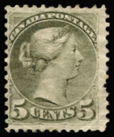 Lot 1362:1870-91 Small Heads Ottawa & Montreal Printings Perf 12 5c olive-green, SG #85, no gum, perf faults, Cat £425.