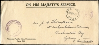 Lot 1407:1946 OHMS Long Envelope to Australia with Western Pacific High Commission Frank Stamp at lower left and Suva cds 5SEP46 at top right.