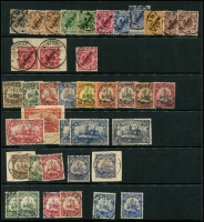 Lot 1575 [2 of 3]:1897-1919 Used Selection on Hagner comprising 1897 3pf to 50pf (2), additional values to 20pf including 3pf grey-brown, 1900-11 	Yachts No Watermark set to 5m, latter with Hans Bothe Certificate, few additional values including 1m on piece, 2m, 1905-19 wmk Lozenges 5pf to 20pf (two of each) etc. Chiefly good to fine, various cancels, Cat £2,200+. (40)