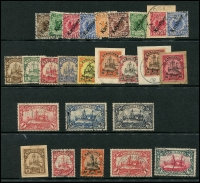 Lot 1576 [3 of 3]:Collection on Hagner including 1899 48º 20pf ultramarine, 56º set 3pf to 50pf, 1901-10 Yacht No Watermark set 3pf to 5m, with duplication including additional 1m and 5m, mostly fine, few on piece. Cat. £2,400+. (28)