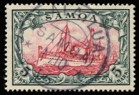 Lot 1581:1900-01 No Wmk 5m yacht, Mi #19, cancelled by fine strike of 'SALAILUA' datestamp, signed on reverse. Cat €600 (SG #G19 cat £700). Scarce.
