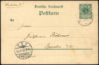Lot 1295:1900 use to Germany of 5pf German Postcard with light Stephansort cds and Oppeln receiving cds 10 6 00 at lower left.