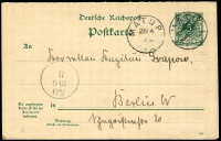 Lot 1297:1900 use to Germany of 5pf German New Guinea ovptd on German Reply Paid card with Matupi cds 28 4 00, reply paid section still attached and unused.
