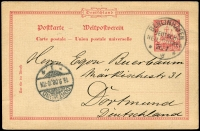 Lot 1296:1908 use to Germany of 10pf German New Guinea Postcard with fine Berlinhafen cds and Dortmund receiving cds at lower left. Very nice card.