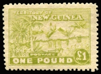 Lot 14983:1925-27 Huts Panelli/Ongelia forgery of £1 Hut in yellow-olive, fine mint. Scarce.