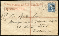 Lot 1174 [2 of 2]:1889 Rare 4d Registered envelope from Broken Hill to Melbourne cancelled 'NO18/89'. Very fine used.