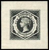 Lot 651:1902 Reprinted Die Proof of the 6d Diadem in black, without value and the 'tongue' at foot drawn in, on semi-transparent wove paper 38x40mm. Very attractive.
