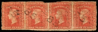 Lot 656:1856-60 Imperf Small Diadems Recess Wmk Double-Lined Numeral 1d orange-red strip of 4 with rays Type 2a cancel '85' of Drayton, SG #109, margins cut into in places. Cat £96.