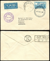 Lot 1799 [2 of 8]:1931-88 from 1931 plain envelope Dunedin-London via Sydney AAMC #222 franked 1931 Air set of 3 SG #548-50, 1932 (Sep 28) Hokitika-Okuru NZAC #65d, a commercial plain registered envelope Wellington-Perth with pair 1931 FIVE PENCE on 3d green SG #551, 1934 plain envelope 1st Trans-Tasman with optd 7d SG #554 tied Auckland cds AAMC #360 (NZAC #81e) then small range mainly domestic usage including BOAC, helicopters, odd photo, to 1988 Christchurch-Adelaide AAMC #2055b. Some of the earlies have small faults, mainly fine. (20)